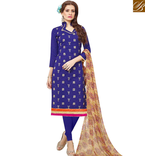STYLISH BAZAAR APPRECIATING ROYAL BLUE COTTON DESIGNER STRAIGHT CUT SALWAR KAMEEZ WITH BEIGE PRINTED DUPATTA MNJ43525