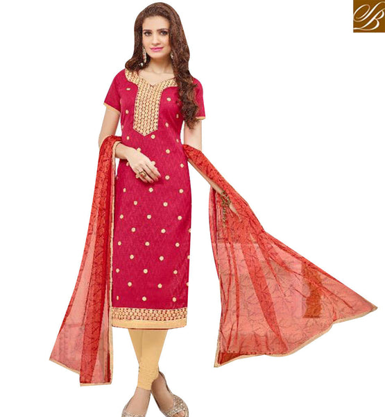STYLISH BAZAAR DAZZLING MAROON COTTON DESIGNER STRAIGHT CUT SALWAR KAMEEZ WITH EMBROIDERED NECK MNJ43527