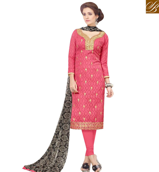 STYLISH BAZAAR BEWITCHING PEACH COTTON DESIGNER STRAIGHT CUT SALWAR KAMEEZ WITH BLACK PRINTED DUPATTA MNJ43530