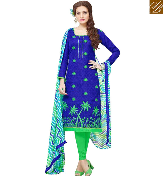 STYLISH BAZAAR DELIGHTFUL ROYAL BLUE COTTON DESIGNER STRAIGHT CUT SALWAR KAMEEZ WITH CASUAL WEAR MNJ43531