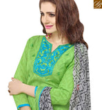 STUNNING PISTA GREEN COTTON DESIGNER CASUAL WEAR STRAIGHT CUT SALWAR KAMEEZ MNJ43532