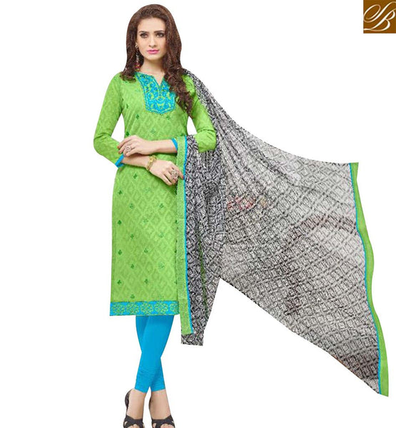 STYLISH BAZAAR STUNNING PISTA GREEN COTTON DESIGNER CASUAL WEAR STRAIGHT CUT SALWAR KAMEEZ MNJ43532