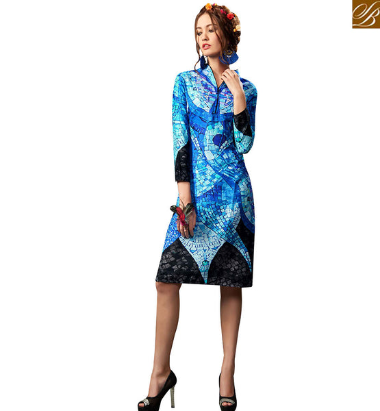 STYLISH BAZAAR GORGEOUSLY DESIGNED BLUE COLORED DIGITAL PRINTED KURTI RNW9019