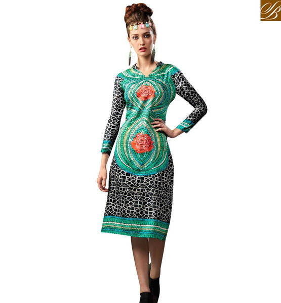 STYLISH BAZAAR STRIKING MULTI COLORED DIGITAL PRINTED DESIGNER KURTI RNW9021