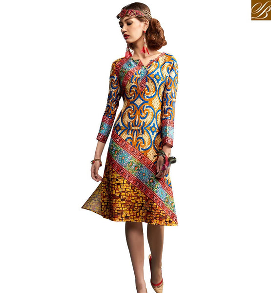 STYLISH BAZAAR GOOD-LOOKING MULTI COLORED DIGITAL PRINTED KURTI RNW9022