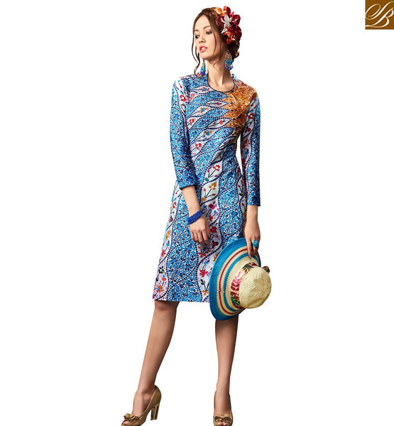 STYLISH BAZAAR PRETTY MULTI COLORED DIGITAL PRINTED DESIGNER KURTI RNW9024