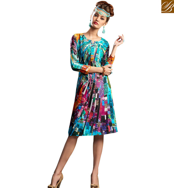 STYLISH BAZAAR APPEALING MULTI COLORED DIGITAL PRINTED DESIGNER KURTI RNW9025