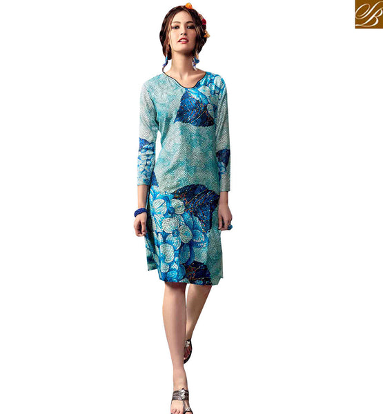 STYLISH BAZAAR STUNNING SKY BLUE COLORED DIGITAL PRINTED KURTI RNW9027