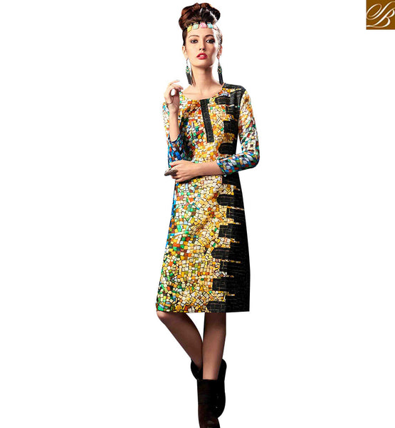 STYLISH BAZAAR EYE CATCHING MULTI COLORED DIGITAL PRINTED KURTI RNW9028