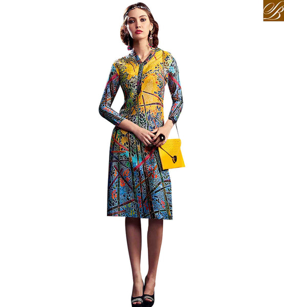 STYLISH BAZAAR GORGEOUS MULTI COLORED DESIGNER DIGITAL PRINTED KURTI RNW9029