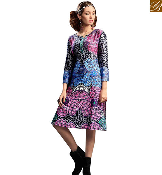 STYLISH BAZAAR AMAZING MULTI COLORED DIGITAL PRINTED DESIGNER KURTI RNW9032