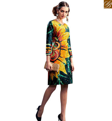 STYLISH BAZAAR BREATHTAKING MULTI COLORED DIGITAL PRINTED DESIGNER KURTI RNW9033