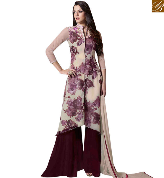 STYLISH BAZAAR BEAUTIFUL OFF WHITE COLORED PLAZZO STYLE SALWAR KAMEEZ WITH FLORAL PRINT MUG1122