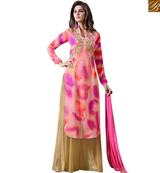 STYLISH BAZAAR LOVELY MULTI COLORED PLAZZO STYLE SALWAR KAMEEZ MUG1123