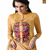 BROUGHT TO YOU BY STYLISH BAZAAR STUNNIG MUSTARD COLORED PLAZZO STYLE DESIGNER SUIT WITH BEAUTIFUL FLORAL WORK MUG1124