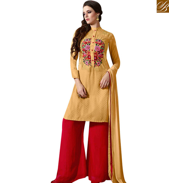 STYLISH BAZAAR STUNNING MUSTARD COLORED PLAZZO STYLE DESIGNER SUIT WITH BEAUTIFUL FLORAL WORK MUG1124