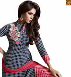 A STYLISH BAZAAR PRESENTATION STRIKING BLACK & PINK COLORED PLAZZO STYLE SALWAR SUIT MUG1125