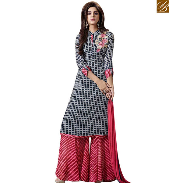 STYLISH BAZAAR STRIKING BLACK & PINK COLORED PLAZZO STYLE SALWAR SUIT MUG1125