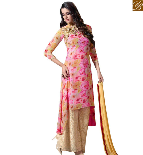 STYLISH BAZAAR GLITTERING MULTI COLORED PLAZZO STYLE DESIGNER SUIT WITH ATTRACTIVE FLORAL WORK MUG1126