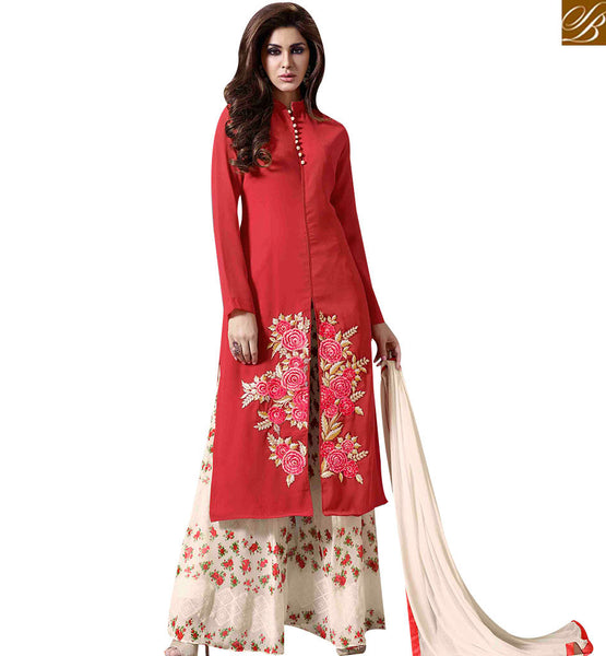 STYLISH BAZAAR CHARMING RED COLORED PLAZZO STYLE DESIGNER SUIT WITH EYE CATCHING FLORAL WORK MUG1127