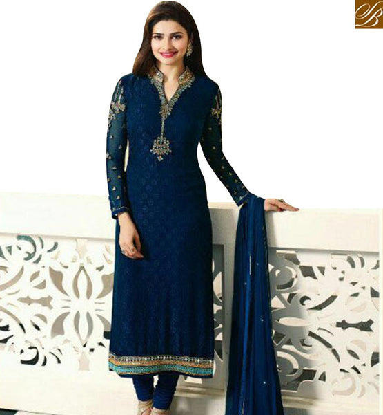 STYLISH BAZAAR SHOP PRACHI DESAI BLUE STRAIGHT CUT SALWAR KAMEEZ WITH HYNECK STYLE FROM STYLISH BAZAAR VNPD4382