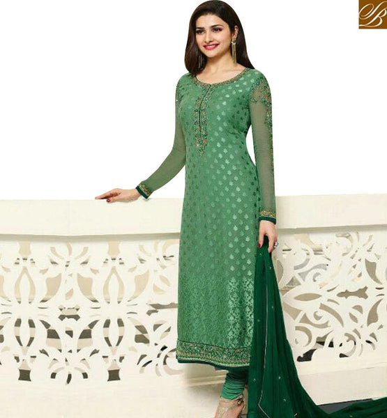 STYLISH BAZAAR BUY BEAUTIFUL GREEN BRASSO PRACHI DESAI STRAIGHT CUT DESIGNER SALWAR KAMEEZ VNPD4385