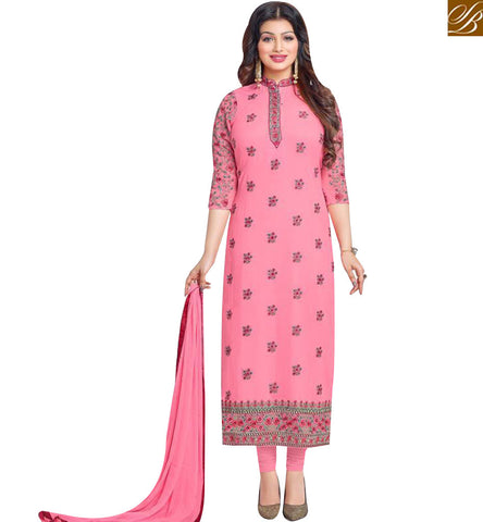 STYLISH BAZAAR INVITING PEACH GEORGETTE DESIGNER STRAIGHT CUT SALWAR KAMEEZ WITH CHINESE COLLOR MNJ43869