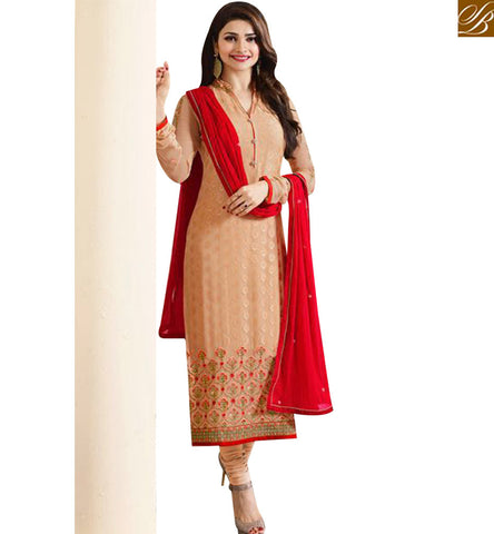 STYLISH BAZAAR AMAZING ORANGE DESIGNER PRACHI DESAI STRAIGHT CUT SALWAR KAMEEZ WITH RED DUPATTA VNPD4386