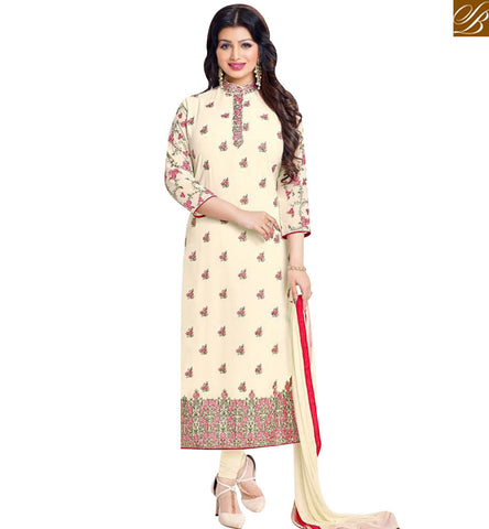STYLISH BAZAAR BOLLYWOOD CELEBRITY AYESHA TAKIA STRAIGHT CUT SALWAR KAMEEZ WITH CHINESE COLLOR MNJ43870