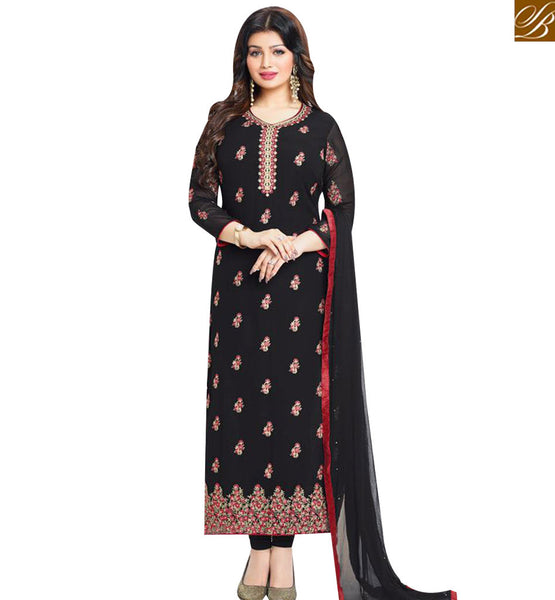 STYLISH BAZAAR BEAUTIFUL BLACK GEORGETTE AYESHA TAKIA STRAIGHT CUT SALWAR KAMEEZ WITH EMBROIDERED MNJ43871