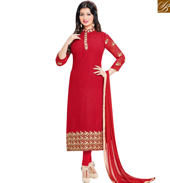 STYLISH BAZAAR BOLLYWOOD ACTRESS AYESHA TAKIA RED STRAIGHT CUT SALWAR KAMEEZ HAVING EMBROIDERY WITH CHINESE COLLOR MNJ43872