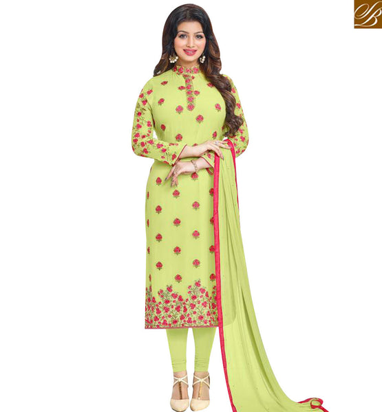 STYLISH BAZAAR BEAUTIFUL ACTRESS AYESHA TAKIA PISTA GREEN STRAIGHT CUT SALWAR KAMEEZ WITH FLORAL EMBROIDERY MNJ43873