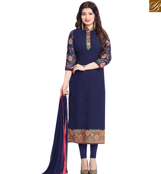 STYLISH BAZAAR SHOP AYESHA TAKIA NAVY BLUE GEORGETTE STRAIGHT CUT EMBROIDERED SUIT WITH CHINESE COLLOR MNJ43874