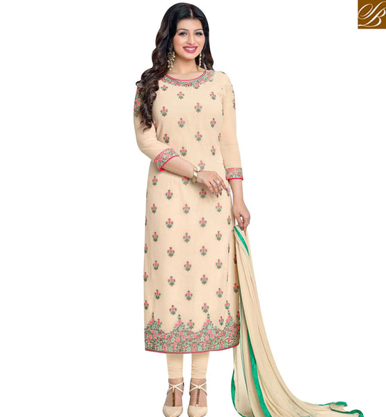 STYLISH BAZAAR BUY AYESHA TAKIA CREAM GEORGETTE STRAIGHT CUT SALWAR KAMEEZ HAVING FLORAL EMBROIDERY MNJ43875