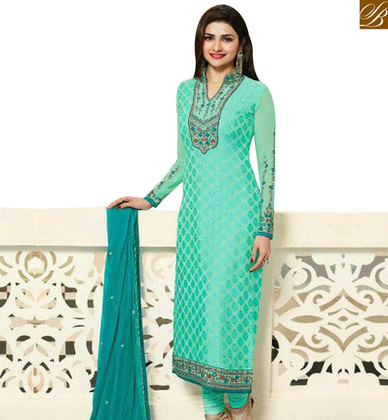 STYLISH BAZAAR APPEALING RAMA EMBROIDERED PRACHI DESAI STRAIGHT CUT SALWAR KAMEEZ WITH HYNECK STYLE VNPD4387