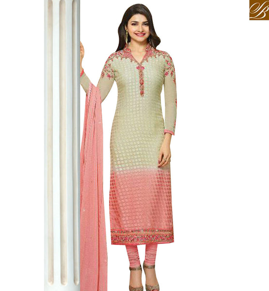 STYLISH BAZAAR CREAM AND PINK SHADED DESIGNER PRACHI DESAI STRAIGHT CUT SALWAR KAMEEZ VNPD4388