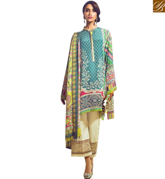 STYLISH BAZAAR AMAZING SEA GREEN COTTON SATIN DESIGNER SUIT HAVING INDO WESTERN STYLE WITH CIGARETTE PANTS MNJ43912
