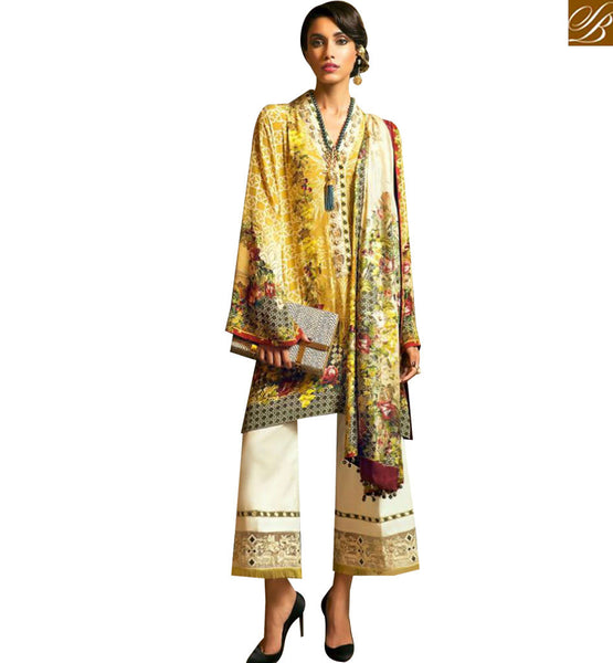 STYLISH BAZAAR ATTRACTIVE YELLOW COTTON FLORAL PRINT DESIGNER SUIT HAVING CIGARETTE PANT WITH PRINTED DUPATTA MNJ43913