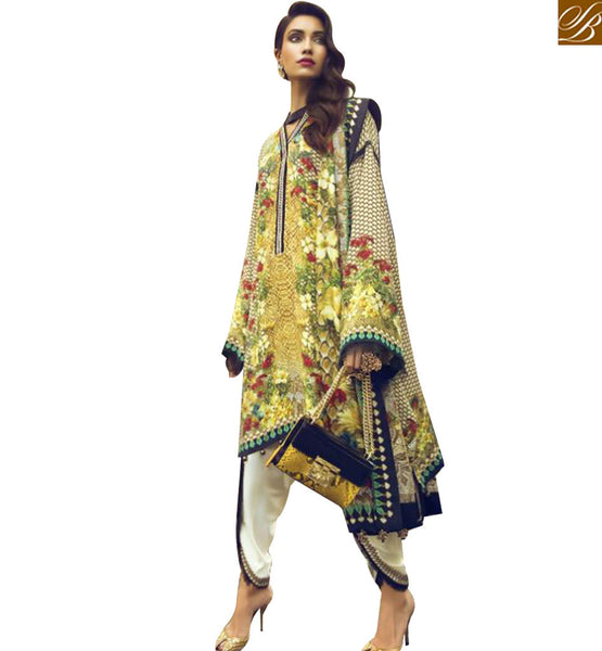 STYLISH BAZAAR PLEASING MULTI COLOR COTTON SATIN DESIGNER SUIT HAVING MODERN UNIQUE SLEEVES WITH DHOTI STYLE MNJ43915