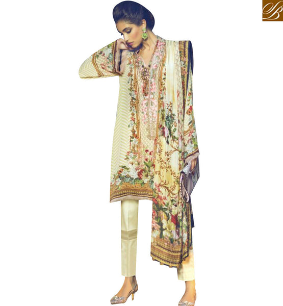STYLISH BAZAAR SPLENDID CREAM DESIGNER INDO WESTERN SUIT HAVING CIGARETTE STYLE PANT WITH PRINTED DUPATTA MNJ43916