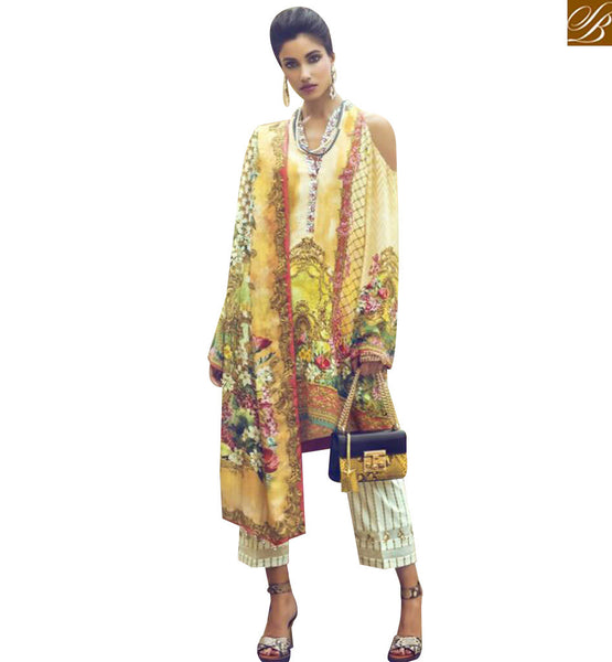 STYLISH BAZAAR SHOP MULTI COLOR PRINTED INDO WESTERN DESIGNER SUIT HAVING CIGARETTE PANT WITH PRINTED DUPATTA MNJ43917