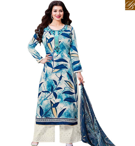 STYLISH BAZAAR BOLLYWOOD CELEBRITY AYESHA TAKIA BLUE COTTON SATIN CASUAL WEAR PLAZZO STYLE SUIT 43956