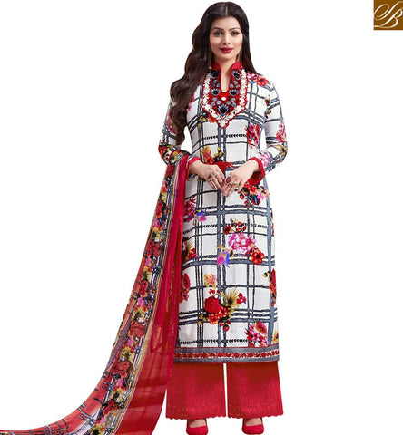 STYLISH BAZAAR SHOP RED AND OFF WHITE COTTON SATIN CASUAL WEAR AYESHA TAKIA PLAZZO SUIT 43957