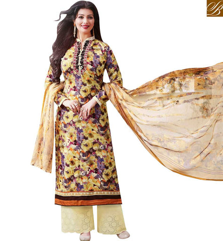 STYLISH BAZAAR SPLENDID MULTICOLOUR COTTON SATIN CASUAL WEAR BOLLYWOOD ACTRESS AYESHA TAKIA PLAZZO SUIT 43958