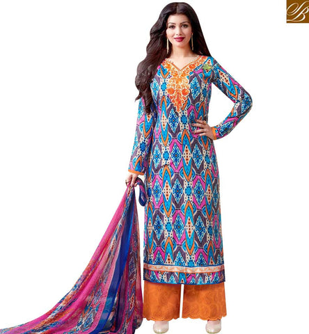 STYLISH BAZAAR STUNNING MULTICOLOUR AYESHA TAKIA CASUAL WEAR COTTON SATIN PLAZZO STYLE PRINTED SUIT 43959