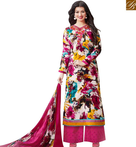 STYLISH BAZAAR AMAZING MULTICOLOUR WELL PRINTED COTTON SATIN AYESHA TAKIA PLAZZO STYLE SALWAR SUIT 43960