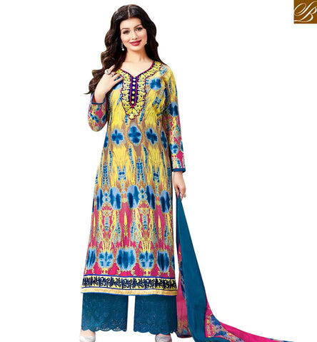 STYLISH BAZAAR ATTRACTIVE MULTICOLOUR COTTON SATIN HAVING LOVELY PRINT AYESHA TAKIA PLAZZO STYLE SUIT 43961