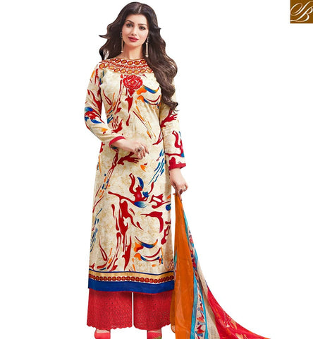 STYLISH BAZAAR GOOD LOOKING CREAM AND RED COTTON SATIN AYESHA TAKIA PLAZZO STYLE SALWAR SUIT 43962