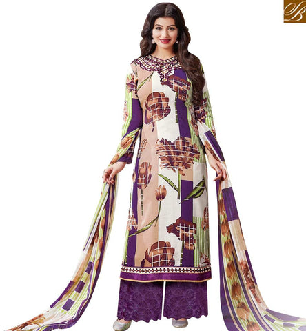 STYLISH BAZAAR PLEASING MULTICOLOUR COTTON SATIN HAVING WELL PRINT DESIGNER AYESHA TAKIA PLAZZO STYLE SALWAR SUIT 43963