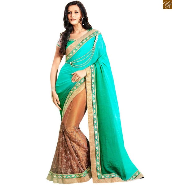 STYLISH BAZAAR SKY BLUE CREAM AND GREEN COLORED EMBROIDERED SARI WITH A GREEN AND CREAM COLOUR BLOUSE ANOB44